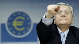 Jean-Claude Trichet, le président de la Banque Centrale Européenne, lors de sa conférence de presse mensuelle à Francfort, le 4 mars 2010