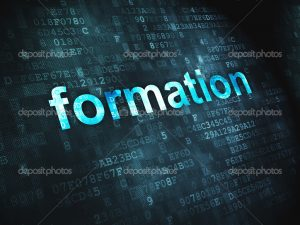 Education concept: pixelated words Formation on digital background, 3d render